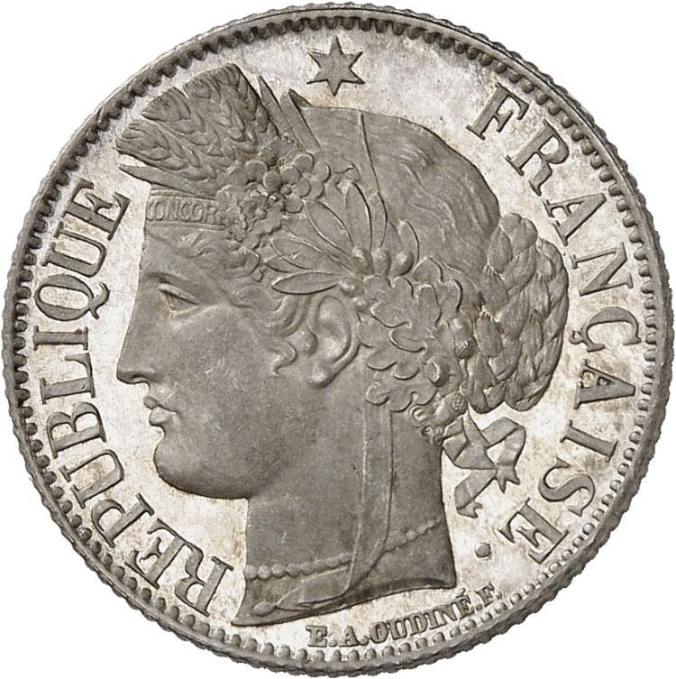 FRANCE II° République (1848-1852). Franc 1849, Paris, frappe sur flan bruni.