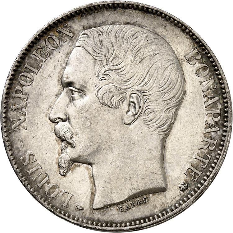 FRANCE Louis Napoléon Bonaparte (1851-1852). 5 francs 1852, Strasbourg.