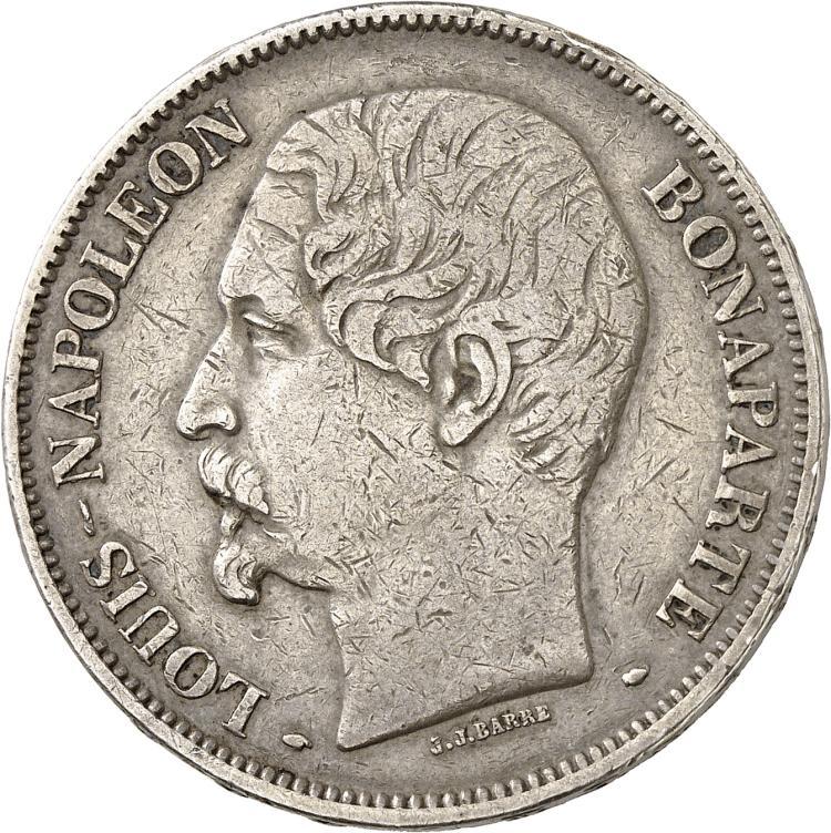 FRANCE Louis Napoléon Bonaparte (1848-1852). 5 francs 1852, Paris, signature J.J Barre.