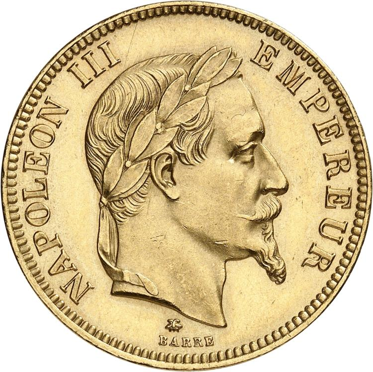 FRANCE Napoléon III (1852-1870). 100 francs or 1864, Paris.