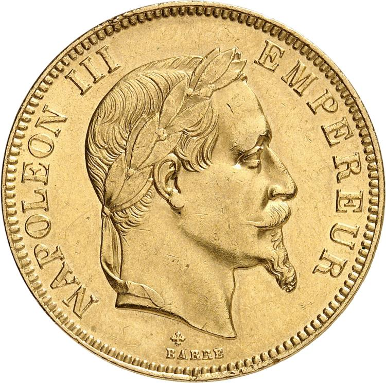 FRANCE Napoléon III (1852-1870). 100 francs or 1866, Strasbourg.