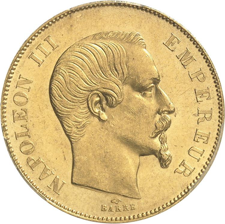 FRANCE Napoléon III (1852-1870). 50 francs or tête nue 1856, Paris.