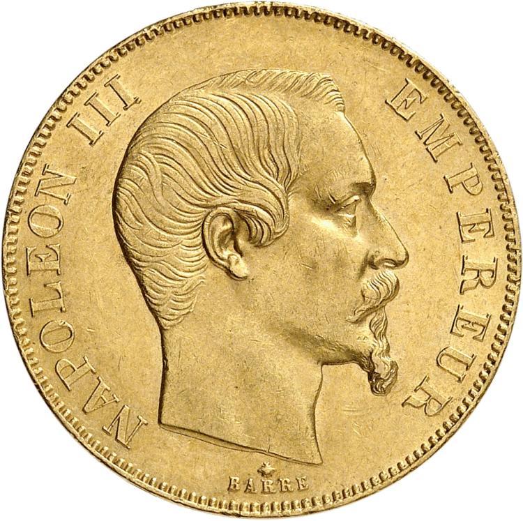FRANCE Napoléon III (1852-1870). 50 francs or tête nue 1858, Strasbourg.