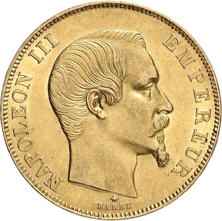 FRANCE Napoléon III (1852-1870). 50 francs or tête nue 1859, Strasbourg.