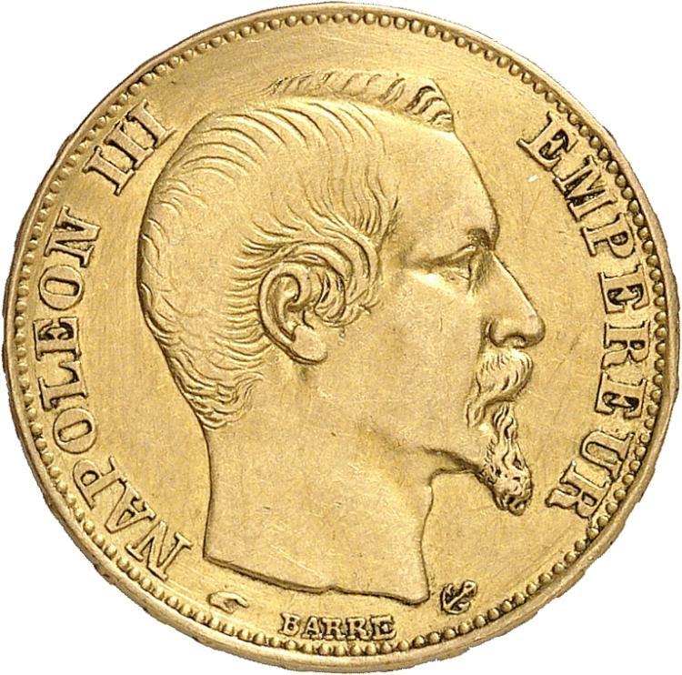 FRANCE Napoléon III (1852-1870). 20 francs or 1858 Paris, faux en platine.