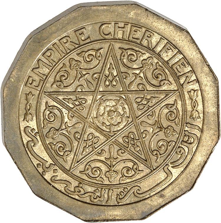 MAROC Empire Che?rifien, Mohammed V (1927-1957 – H 1346-1376). 50 centimes non date? (1357) en bronze aluminium, essai pie?fort grand module a? 12 pans.