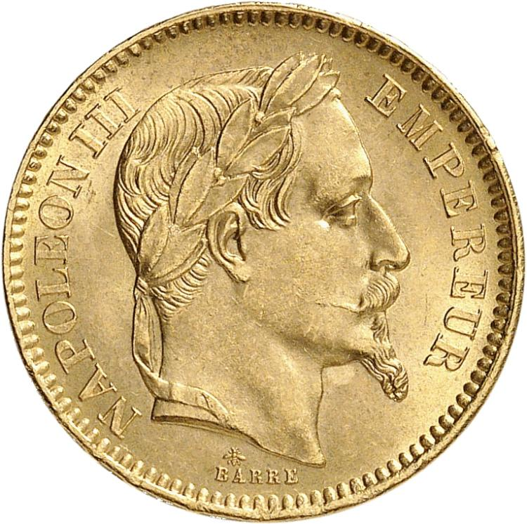 FRANCE Napoléon III (1852-1870). 20 francs or 1863, Paris.
