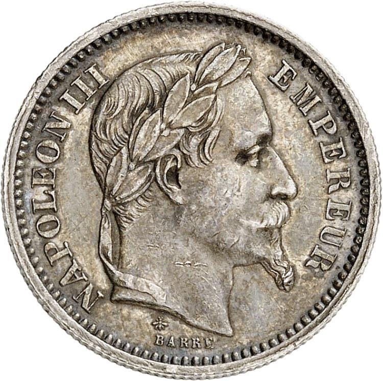 FRANCE Napoléon III (1852-1870) – Victor Emmanuel II (1861-1878). Essai hybride en argent du 20 francs et 20 lire 1873, tranche striée.