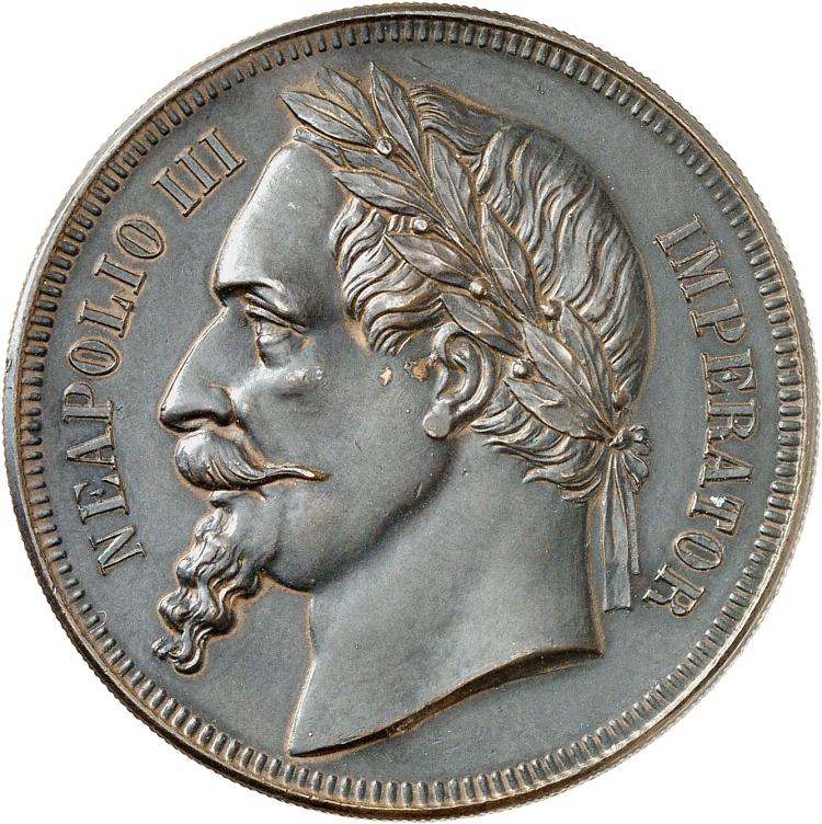 FRANCE Napoléon III (1852-1870). Module de 5 francs, satirique, 1870 « Finis Germaniae » en bronze.
