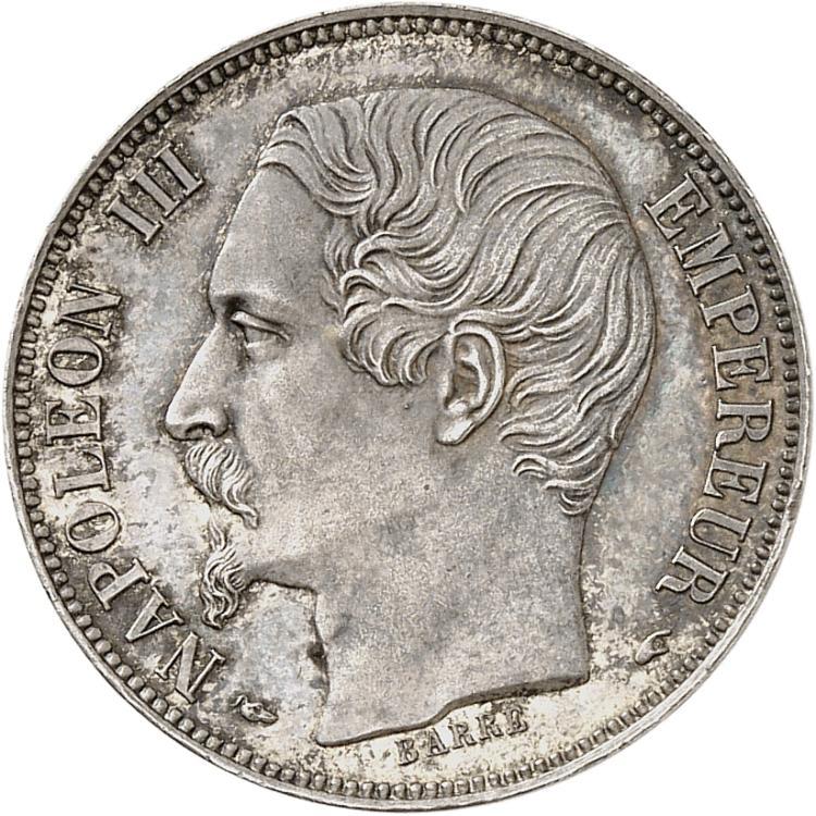FRANCE Napoléon III (1852-1870). Franc 1853, Paris, grosse tête, épreuve en argent tranche lisse.