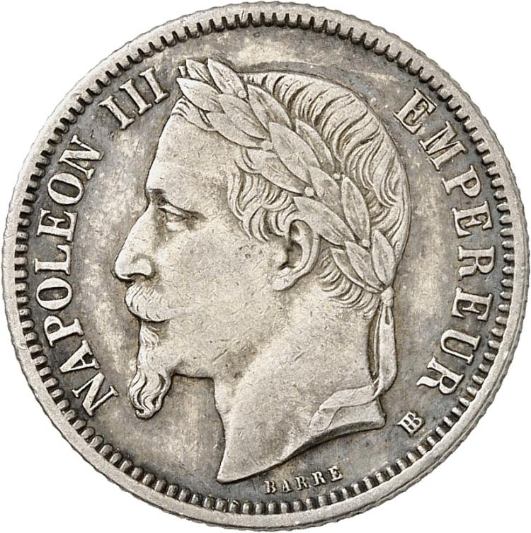 FRANCE Napoléon III (1852-1870). Franc 1868, Strasbourg, marque d'atelier à l'avers et au revers.