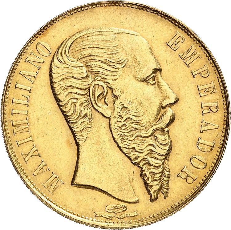 MEXIQUE Maximilien Ier (1864-1867). 20 pesos 1866, Mexico.