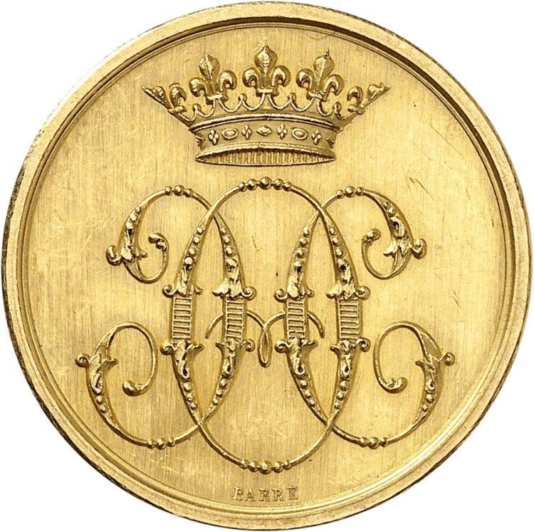 FRANCE Henri d'Orléans, duc d'Aumale (1822-1897). Jeton en or «Conseil des domaines de Mr le duc d'Aumale» par Barre, poinçon abeille.