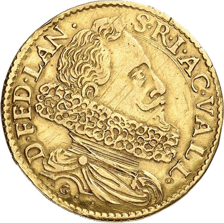 MONACO Compiano, Federico Landi (1590-1627). Oncle et tuteur d'Honoré II. Doppia non datée.