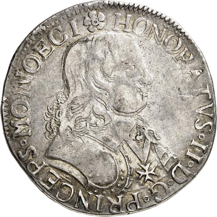 MONACO Honoré II (1604-1662). Écu 1648, Ier type avec l'écusson plus petit et buste fort.
