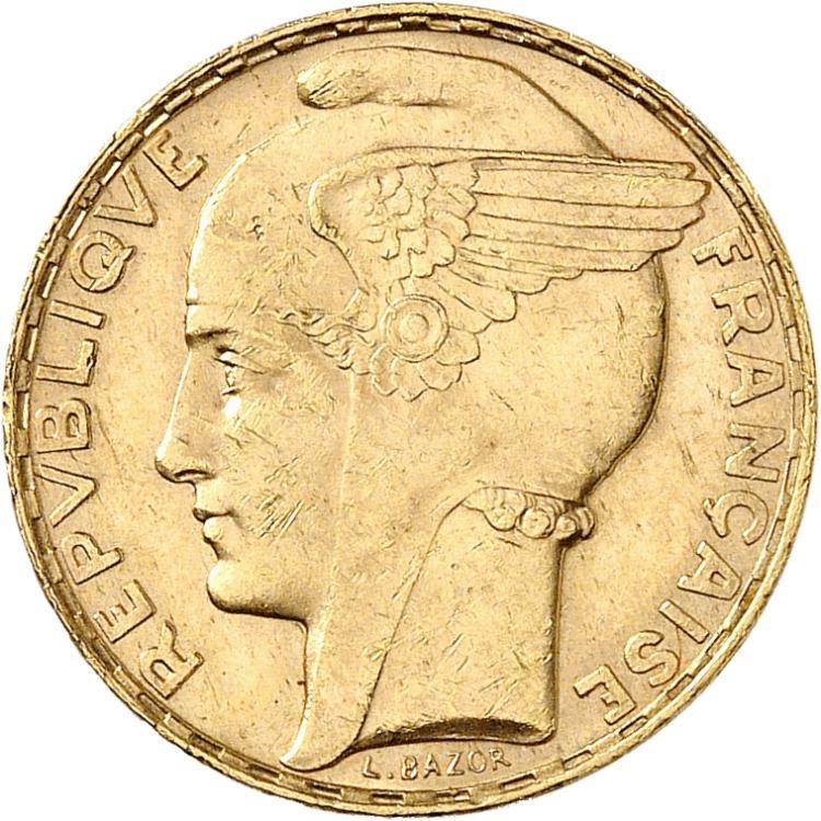 FRANCE III° République (1870-1940). 100 francs or Bazor 1935.