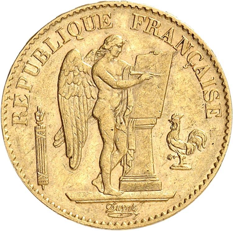 FRANCE III° République (1870-1940). 20 francs or 1896, Paris, différent torche.
