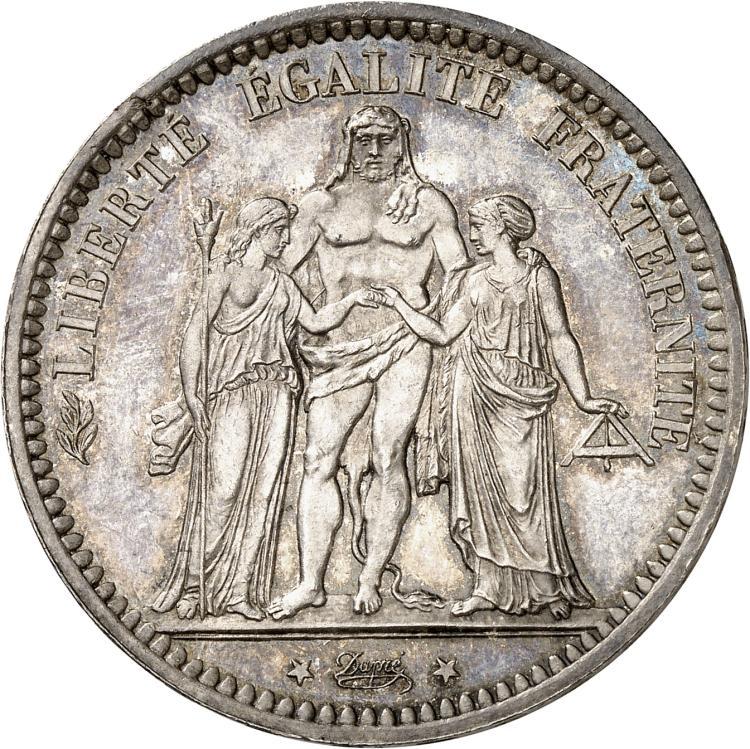 FRANCE La Commune (18 mars 1871-28 mai 1871). 5 francs Camélinat 1871, Paris, différent trident. Date serrée.