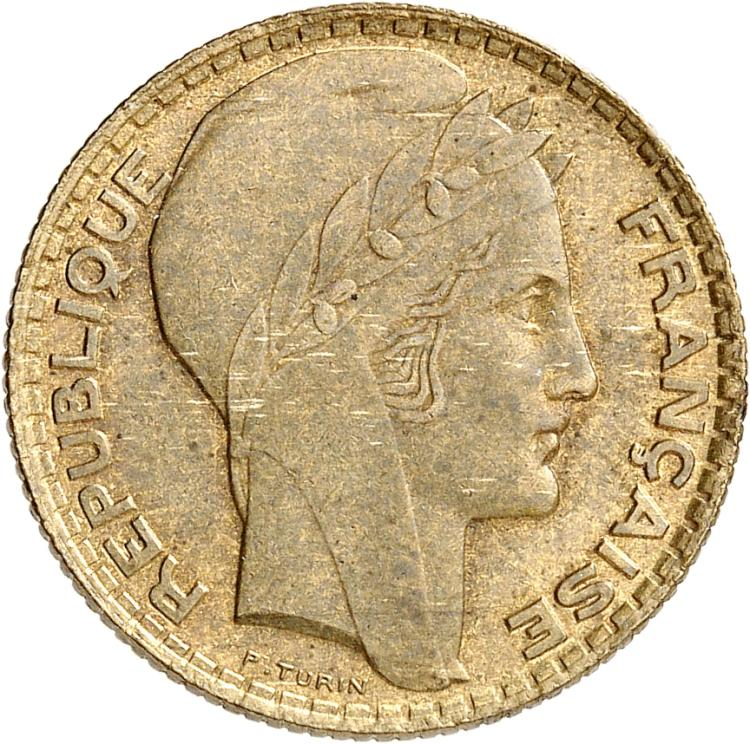 FRANCE III° République (1870-1940). 5 francs Turin 1929, essai en bronze-aluminium.