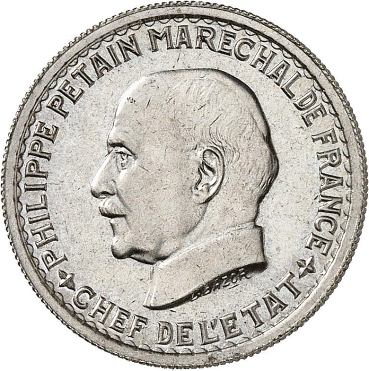 FRANCE État Français (1940-1944). 5 francs 1941, essai en cupro-nickel du type adopté.