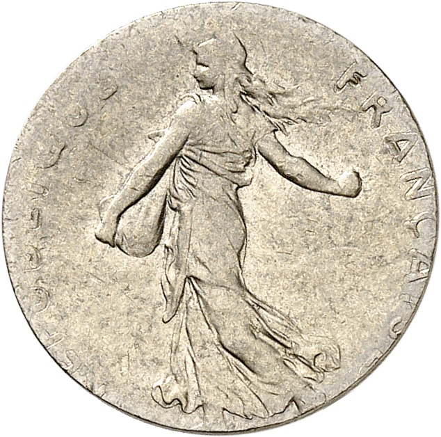 FRANCE V° République (1959- à nos jours). ½ franc 1974, frappé sur un flan de 5 centimes Lagriffoul.