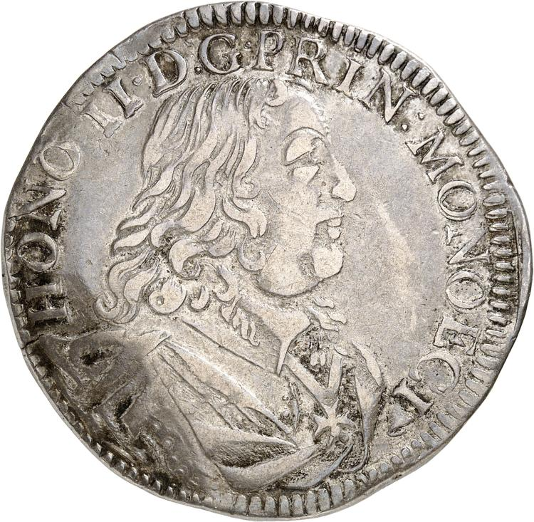 MONACO Honoré II (1604-1662). Écu 1653.
