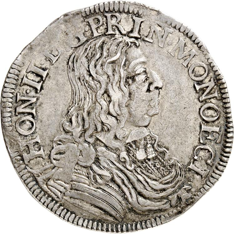 MONACO Honoré II (1604-1662). Écu 1655.