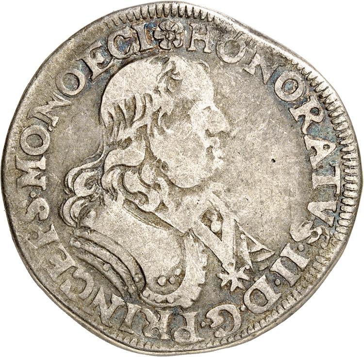 MONACO Honoré II (1604-1662). 1/2 écu 1648.