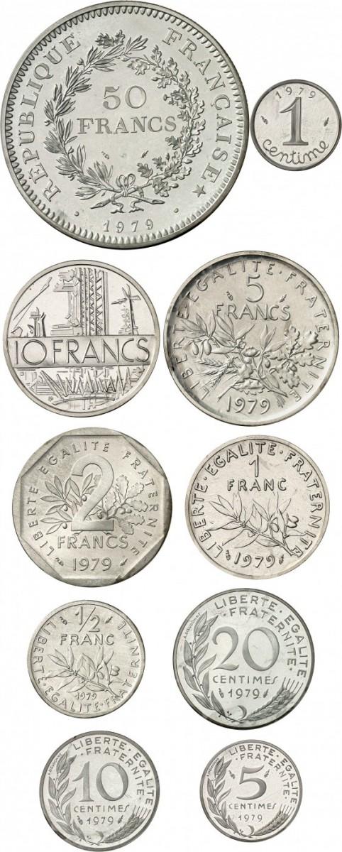 FRANCE V° République (1959- à nos jours). Coffret complet de 10 piéforts en argent 1979, avec leur certificats, 50 francs, 10francs, 5 francs, 2 francs, 1 franc, ½ franc, 20 centimes, 10 centimes, 5 centimes, 1 centime.