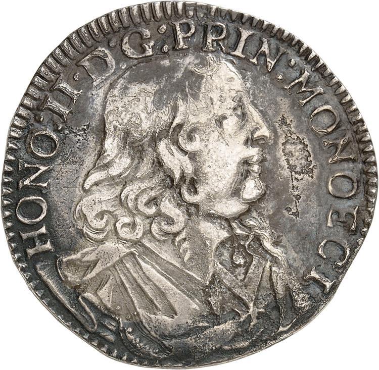 MONACO Honoré II (1604-1662). 1/2 Écu 1653.