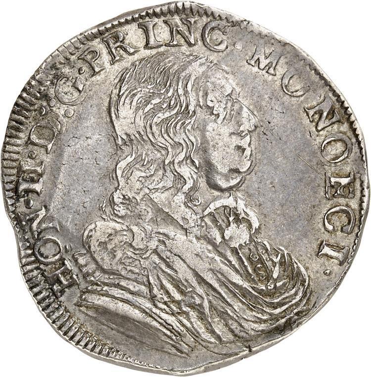 MONACO Honoré II (1604-1662). 1/2 Écu 1655.