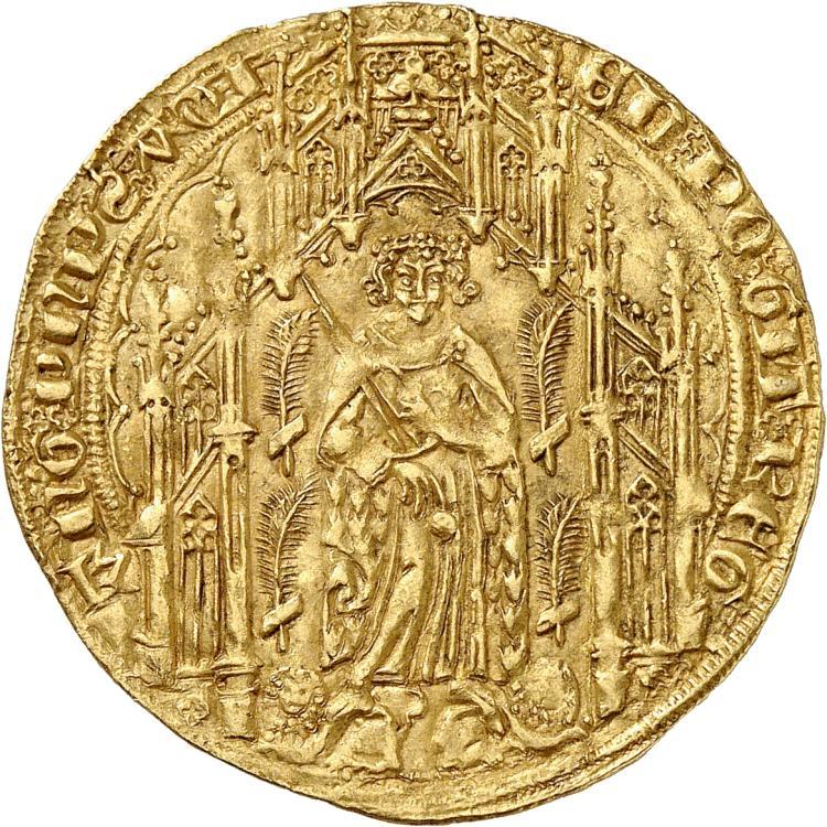 FRANCE FÉODALE Aquitaine, Edouard le Prince Noir (1362-1372). Pavillon d'or, La Rochelle.