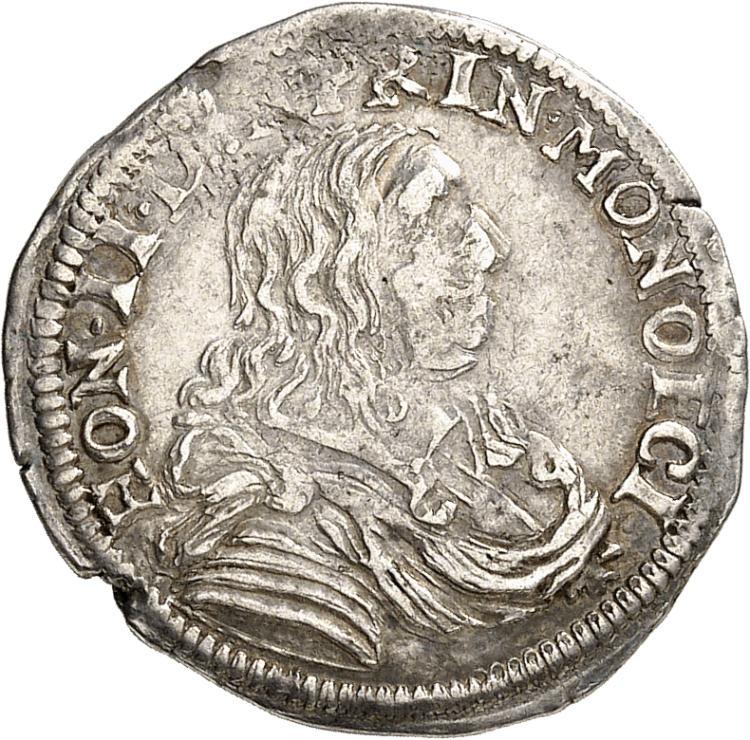 MONACO Honoré II (1604-1662). 1/12 d'écu 1657.
