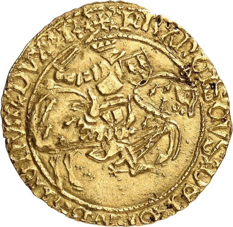 FRANCE FÉODALE Bretagne, François Ier (1442-1450). Cavalier d'or, Rennes.