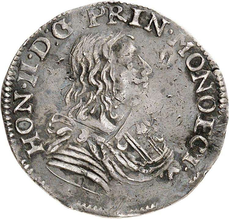 MONACO Honoré II (1604-1662). 1/12 d'écu 1658.