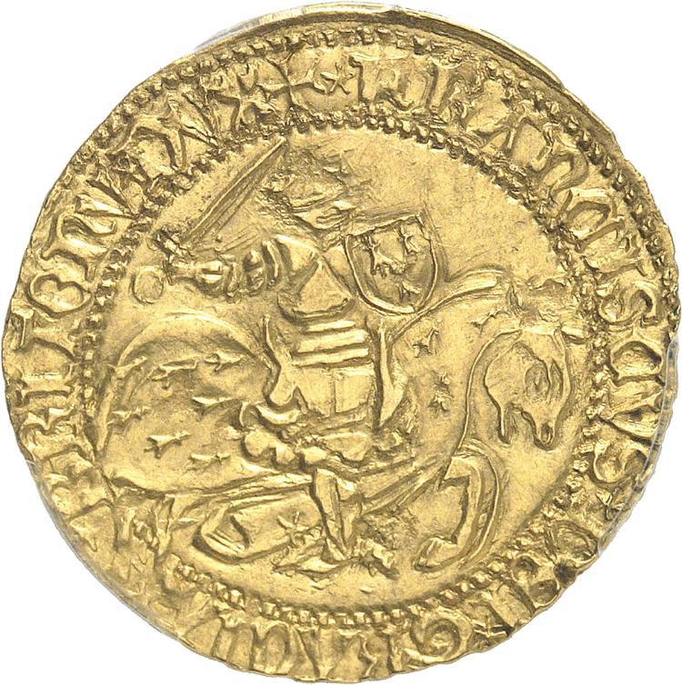 FRANCE FÉODALE Bretagne, François II (1450-1457). Cavalier d'or, Rennes.