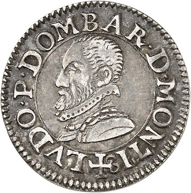FRANCE FÉODALE Dombes, Louis II (1560-1582). Essai en argent du denier tournois 1576.