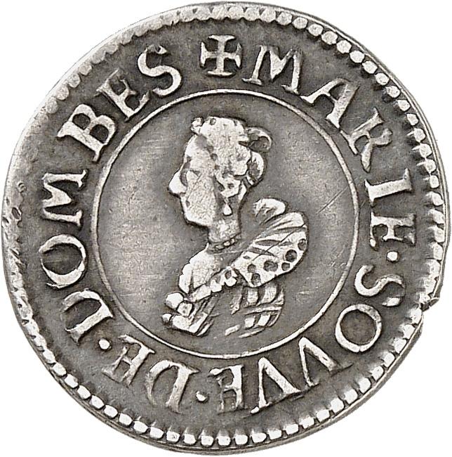 FRANCE FÉODALE Dombes, Marie de Bourbon de Montpensier (1560-1582). Essai en argent du denier tournois 1620.