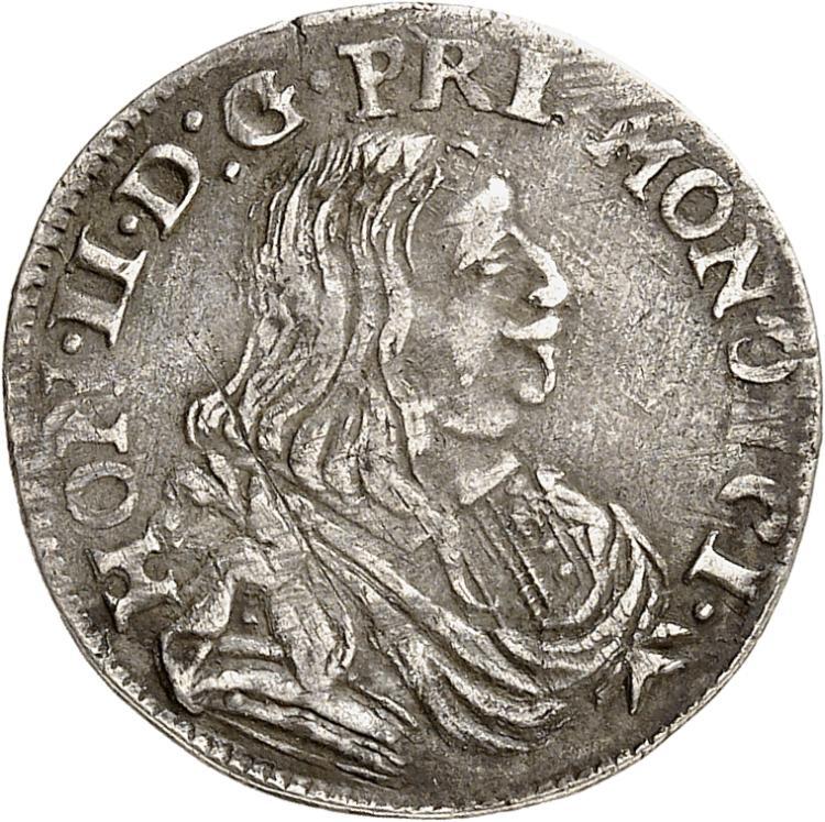 MONACO Honoré II (1604-1662). 1/12 d'écu 1662.