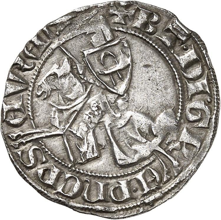 FRANCE FÉODALE Principauté d'Orange, Bertrand III (1281-1314). Demi-gros au chevalier imité des demi-gros « baudequin» de Jean II comte de Hainaut.