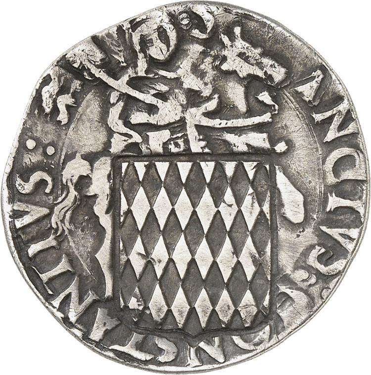 MONACO Honoré II (1604-1662). Contremarque de l'Écu à six rangées de fusées de Monaco, correspondant à la contre-valeur d'un huitième d'écu d'argent, sur un Cornuto de Carmagnola.