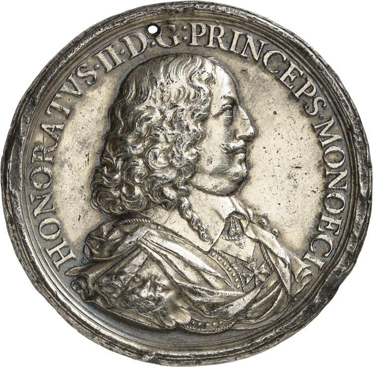 MONACO Honoré II (1604-1662). Médaille en argent 1645.