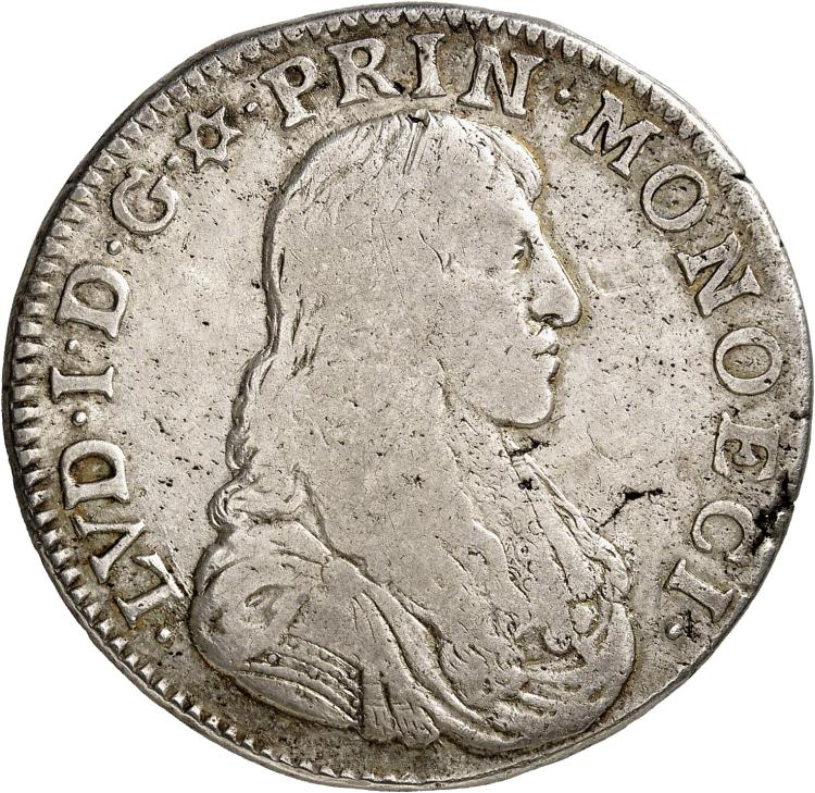 MONACO Louis Ier (1662-1701). Écu 1666.