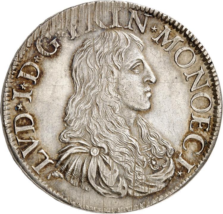 MONACO Louis Ier (1662-1701). Écu 1672.