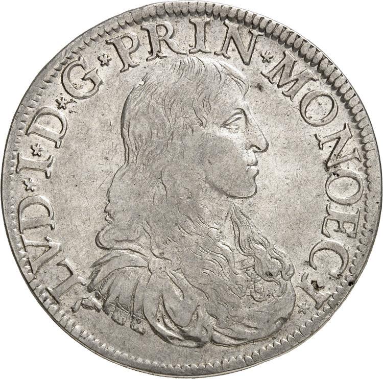 MONACO Louis Ier (1662-1701). Écu 1673.