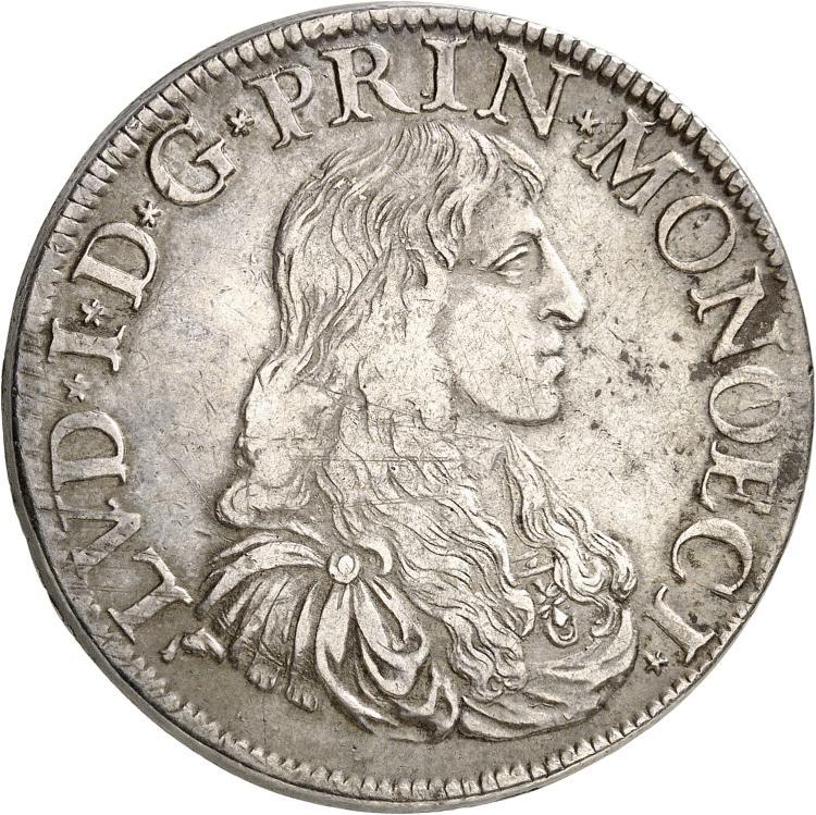 MONACO Louis Ier (1662-1701). Écu 1674.