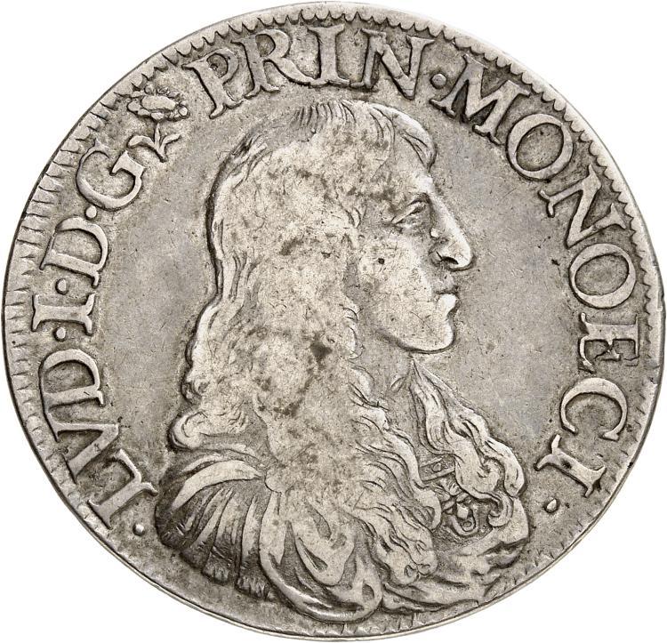 MONACO Louis Ier (1662-1701). Écu 1679.