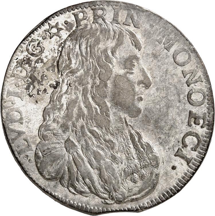 MONACO Louis Ier (1662-1701). 1/2 écu 1665.