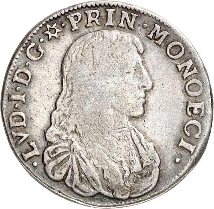 MONACO Louis Ier (1662-1701). 1/2 écu 1666.