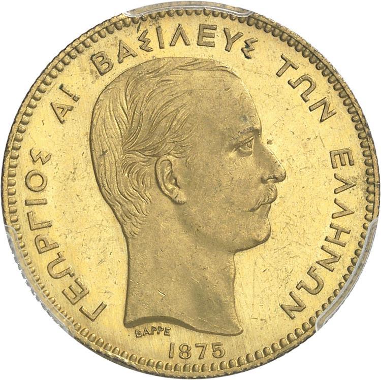 GRÈCE Georges Ier (1863-1913). 50 drachmes 1875, essai uniface en cuivre doré de l'avers, par Barre, Paris.